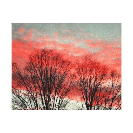 Puesta del sol del invierno lona envuelta para galerías