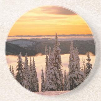 Puesta del sol del invierno posavasos personalizados