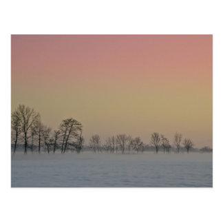 Puesta del sol del invierno postal