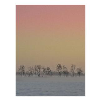 Puesta del sol del invierno postales