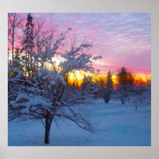 Puesta del sol del invierno póster
