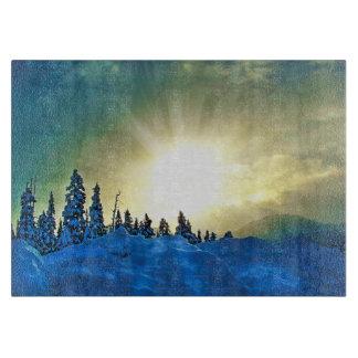 Puesta del sol del invierno sobre Mt Washington, Tabla Para Cortar