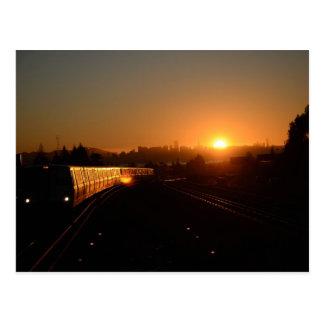 Puesta del sol del invierno tarjetas postales