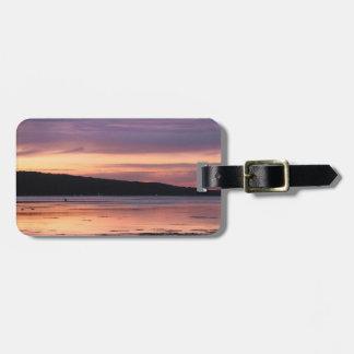 Puesta del sol del lago Cayuga Etiqueta Para Maleta