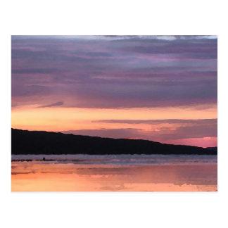 Puesta del sol del lago Cayuga Postal