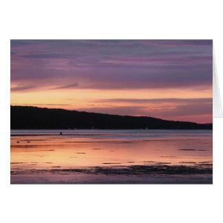 Puesta del sol del lago Cayuga Tarjetón