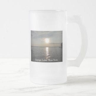 Puesta del sol del lago Cayuga Taza De Cristal