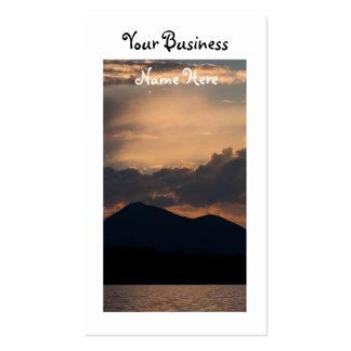 Puesta del sol del lago fish tarjetas personales