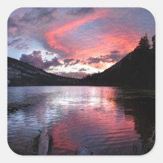 Puesta del sol del lago Merced - Yosemite - Pegatina Cuadrada