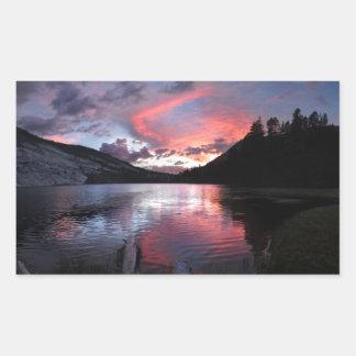 Puesta del sol del lago Merced - Yosemite - Pegatina Rectangular
