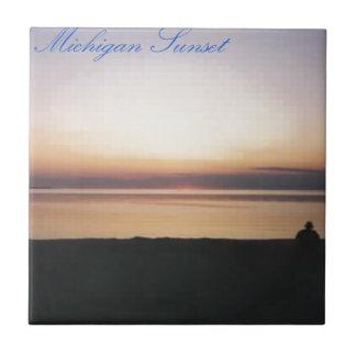 Puesta del sol del lago Michigan Azulejo Cuadrado Pequeño