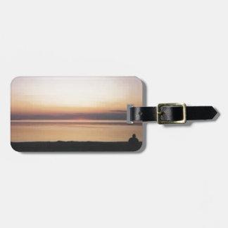 Puesta del sol del lago Michigan Etiqueta De Maleta