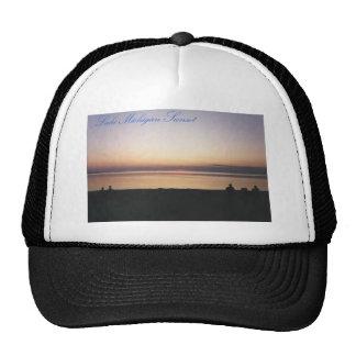 Puesta del sol del lago Michigan Gorro De Camionero