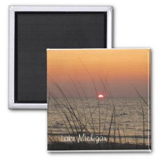 Puesta del sol del lago Michigan Imán Cuadrado