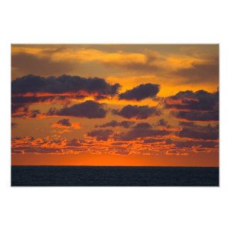 Puesta del sol del lago Michigan, Ludington, Michi Arte Fotográfico