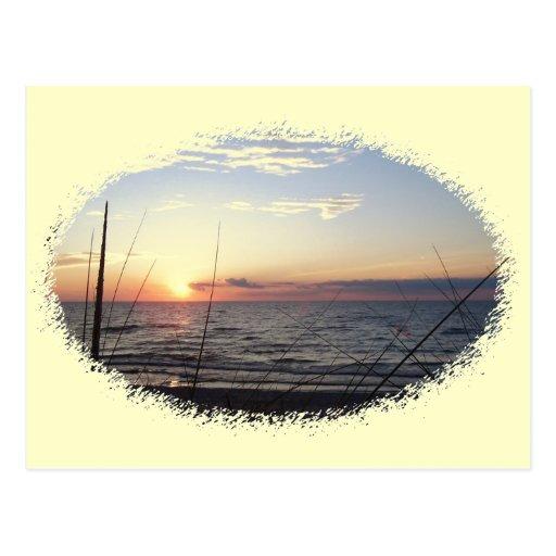 Puesta del sol del lago Michigan Postal