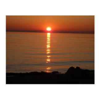 Puesta del sol del lago Michigan Tarjetas Postales
