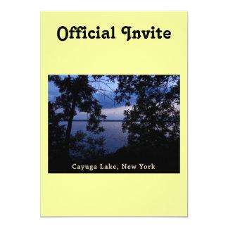 """Puesta del sol del lago NY Cayuga Invitación 5"""" X 7"""""""