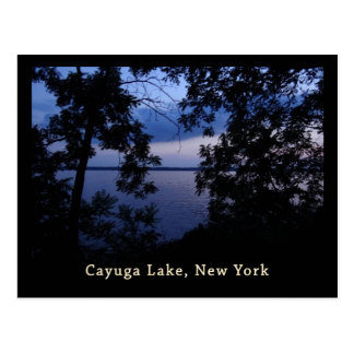 Puesta del sol del lago NY Cayuga Tarjeta Postal