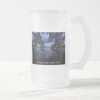 Puesta del sol del lago NY Cayuga Tazas De Café
