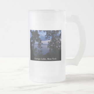 Puesta del sol del lago NY Cayuga Taza De Cristal