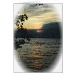 Puesta del sol del lago Oneida en aceite Tarjetón