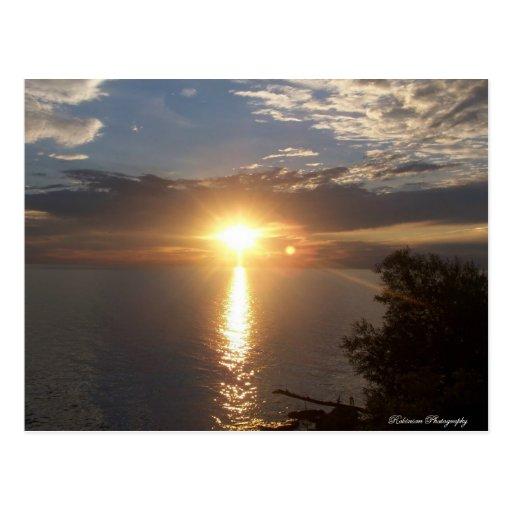 Puesta del sol del lago Ontario Tarjeta Postal
