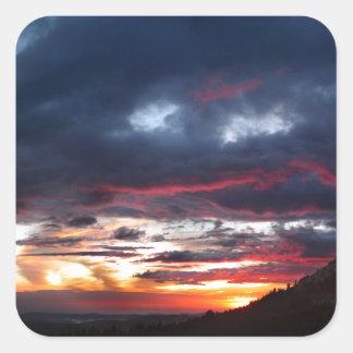 Puesta del sol del lago Ottoway - Yosemite - Pegatina Cuadrada