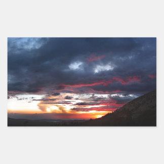 Puesta del sol del lago Ottoway - Yosemite - Pegatina Rectangular