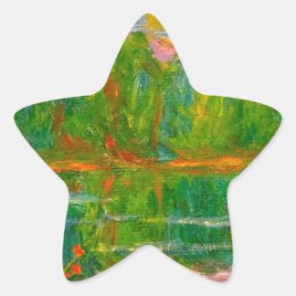 Puesta del sol del lago pegatina en forma de estrella
