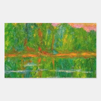 Puesta del sol del lago pegatina rectangular
