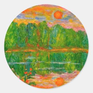 Puesta del sol del lago pegatina redonda