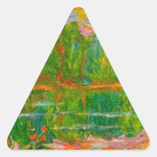 Puesta del sol del lago pegatina triangular