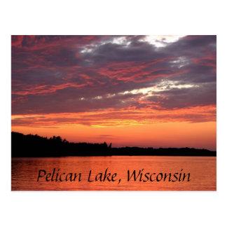 Puesta del sol del lago pelican, Wisconsin Tarjeta Postal