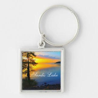 Puesta del sol del lago Sardis - Mississippi - Llavero Cuadrado Plateado