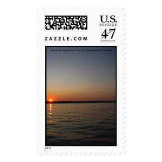 Puesta del sol del lago Seneca Timbres Postales