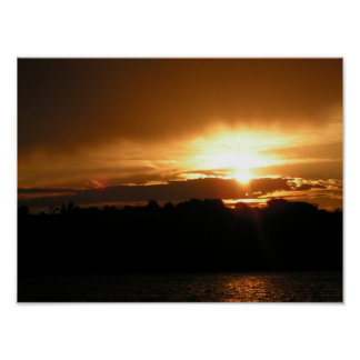 Puesta del sol del lago Sumner del fuerte Póster