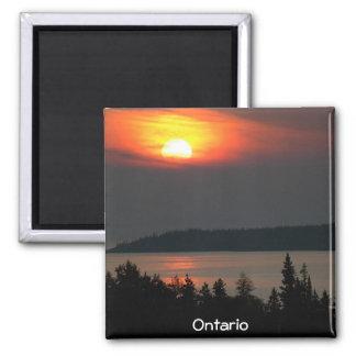 Puesta del sol del lago Superior Imán Cuadrado