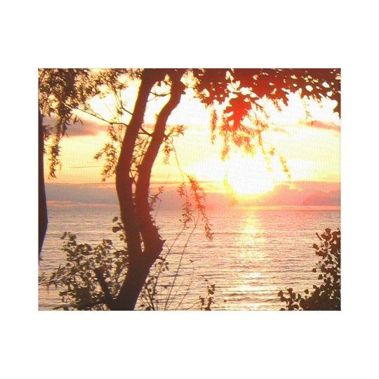 Puesta del sol del lago Superior Impresión En Lienzo