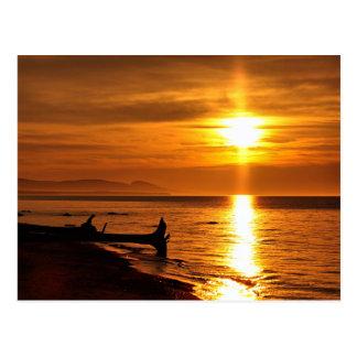 Puesta del sol del lago Superior Postal