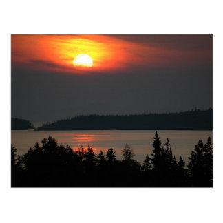 Puesta del sol del lago Superior Tarjeta Postal