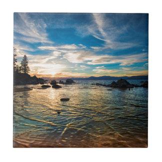 Puesta del sol del lago Tahoe Azulejo Cuadrado Pequeño