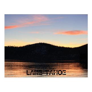 Puesta del sol del lago Tahoe con la sombra 1 Postal