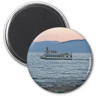 Puesta del sol del lago Tahoe Imán Redondo 5 Cm