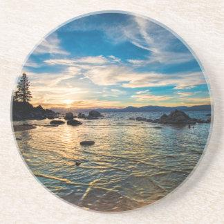 Puesta del sol del lago Tahoe Posavasos Para Bebidas