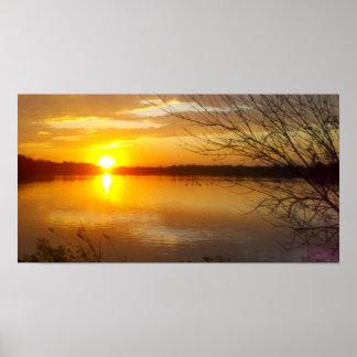 Puesta del sol del lago Tampier Impresiones