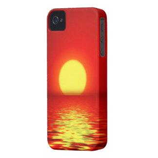 Puesta del sol del mar del océano iPhone 4 cárcasa