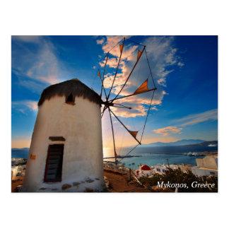 Puesta del sol del molino de viento de Mykonos, Postal
