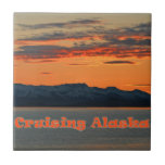 Puesta del sol del naranja de Alaska que cruza Azulejo Cuadrado Pequeño