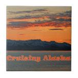 Puesta del sol del naranja de Alaska que cruza /Vi Tejas